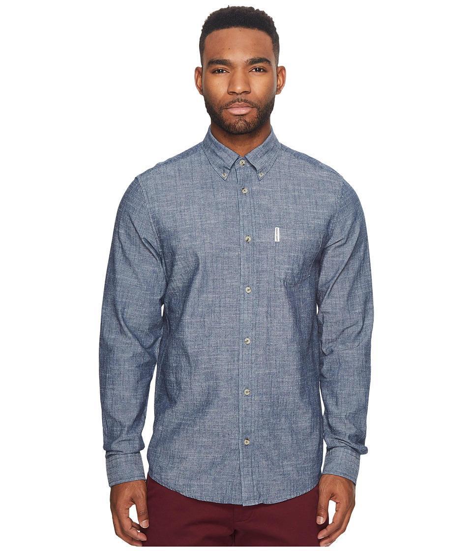 Ben Sherman Long Sleeve Chambray Woven Shirt (Navy Blazer...