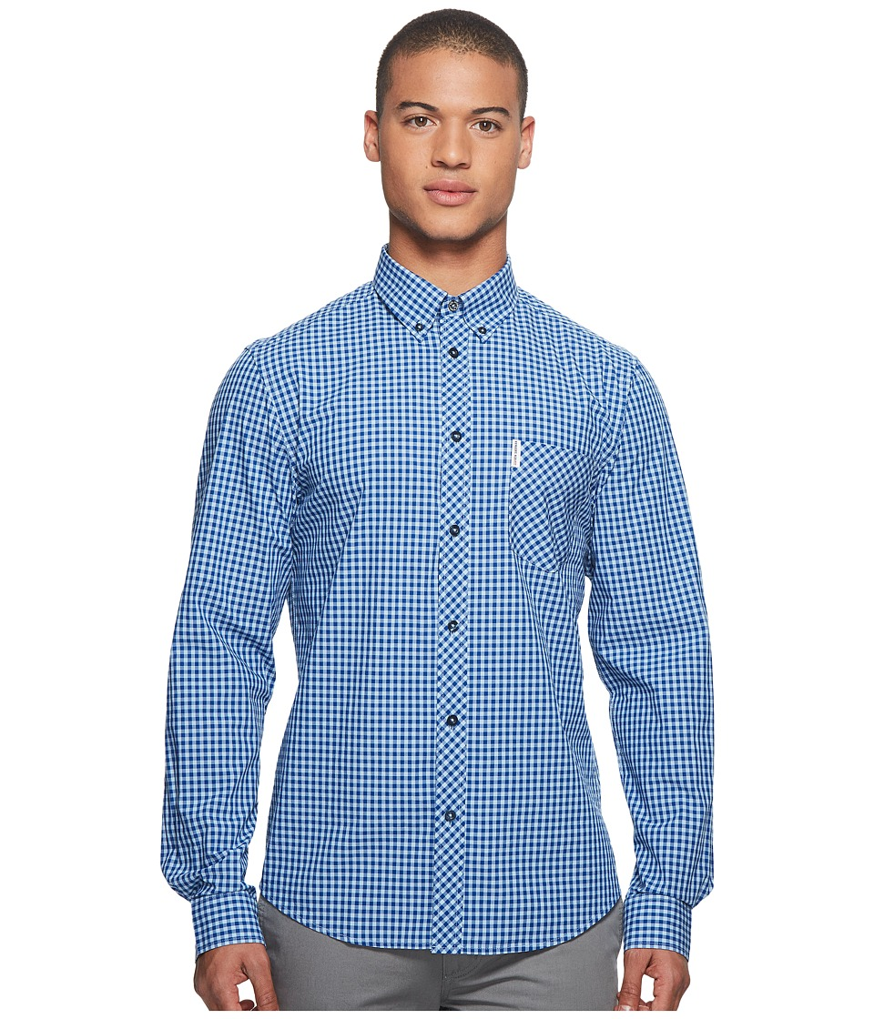 Ben Sherman - Long Sleeve Gingham Mod Shirt MA10113A (Cobalt) Mens Long Sleeve Button Up