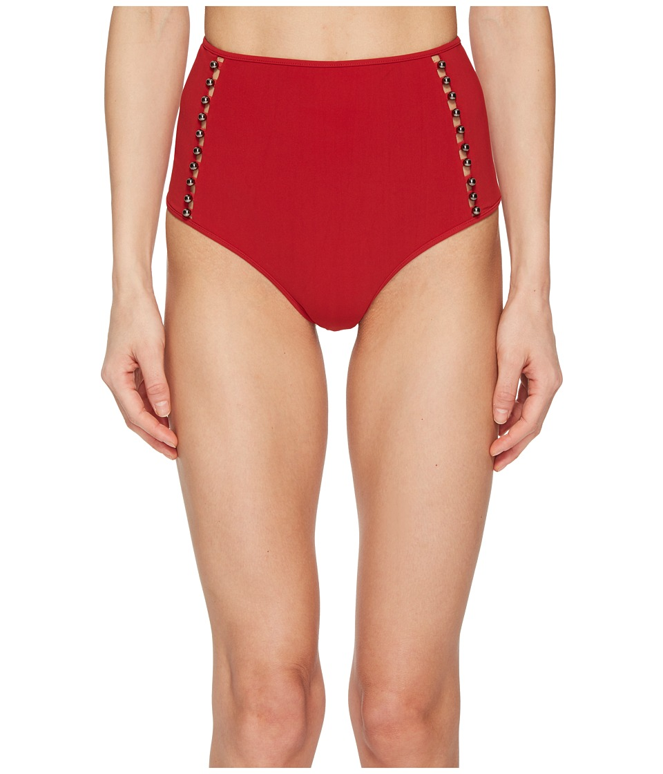 Jonathan Simkhai Pearl Studded High-Waisted Bikini Bottom (Crimson) Women