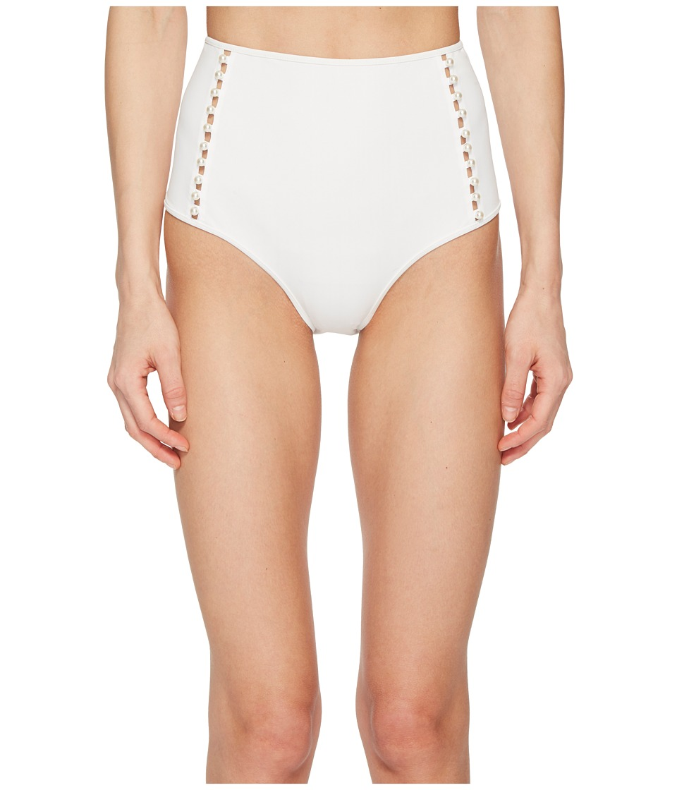 Jonathan Simkhai Pearl Studded High-Waisted Bikini Bottom (Ivory) Women