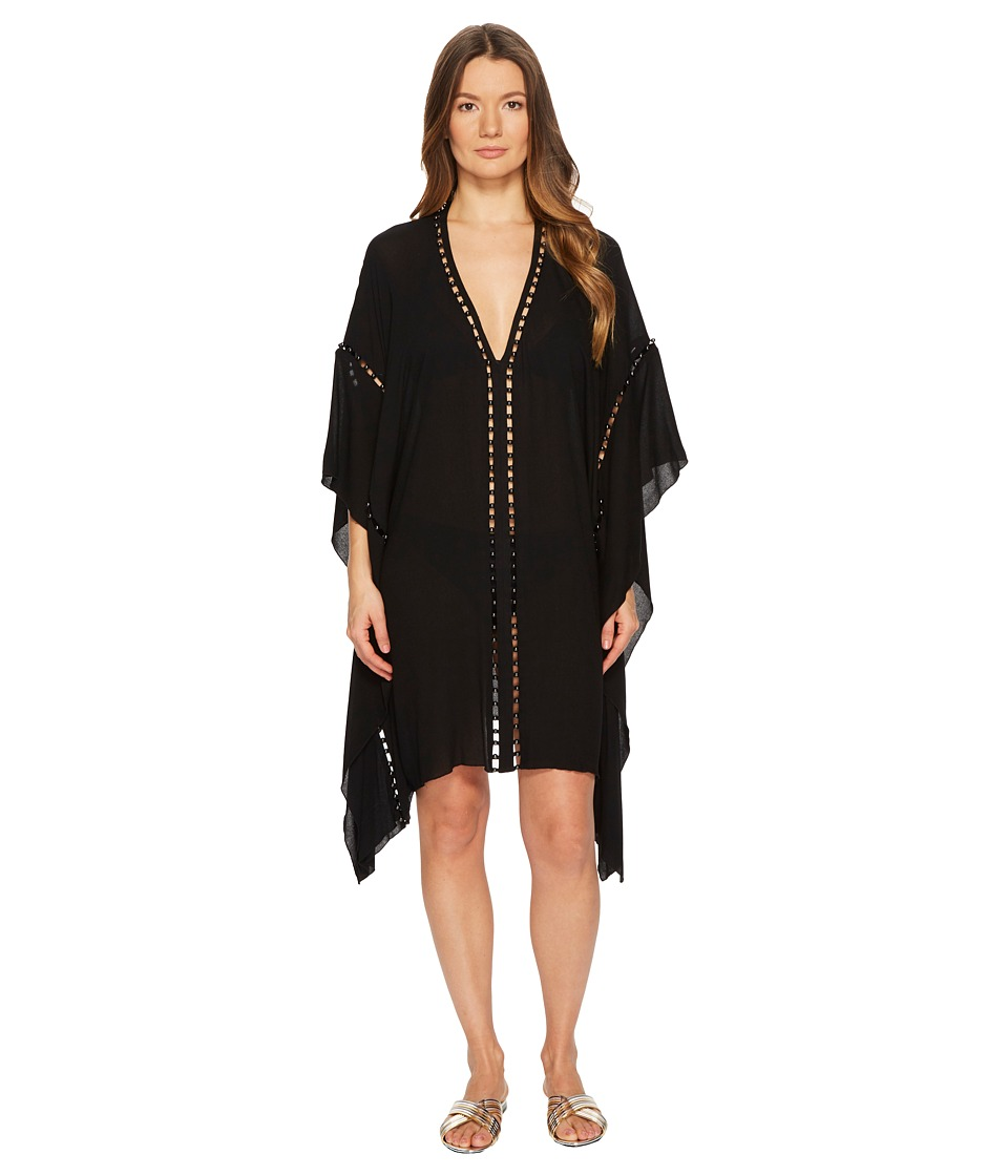 Jonathan Simkhai Crepe Studded V-Neck Caftan Cover-Up (Black)