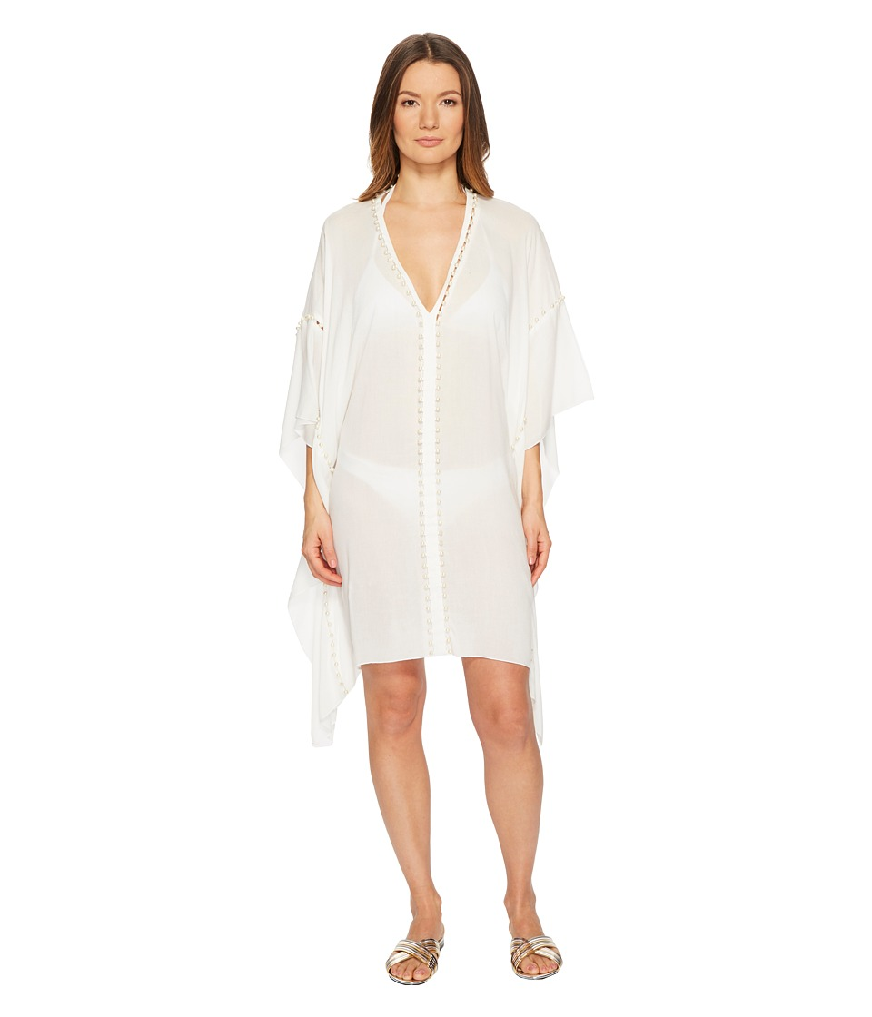 Jonathan Simkhai Crepe Studded V-Neck Caftan Cover-Up (Ivory) Women