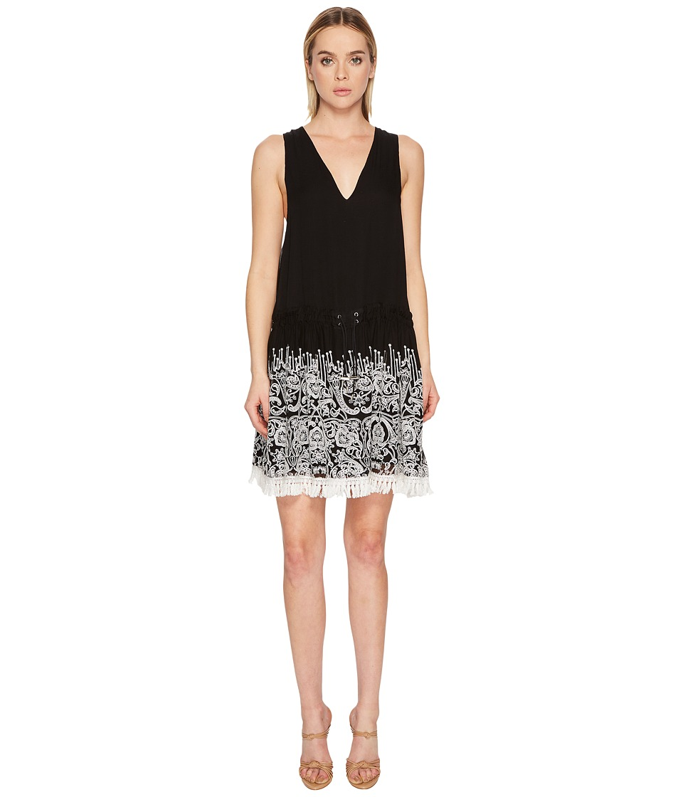 Jonathan Simkhai Embroidered Silk Crinkle Mini Dress Cover-Up (Black)