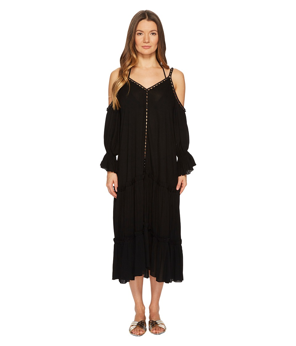 Jonathan Simkhai Crepe Studded V-Neck Dress Cover-Up (Black)