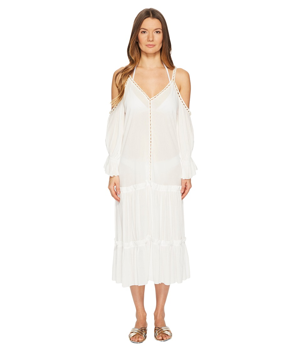 Jonathan Simkhai Crepe Studded V-Neck Dress Cover-Up (Ivory) Women
