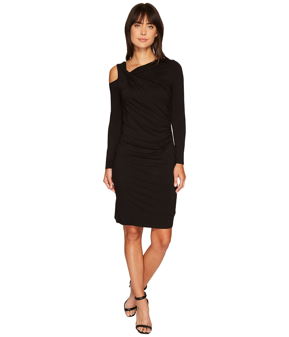 Vince Camuto Long Sleeve Cold Shoulder Dress with Ruching (Rich Black) Women
