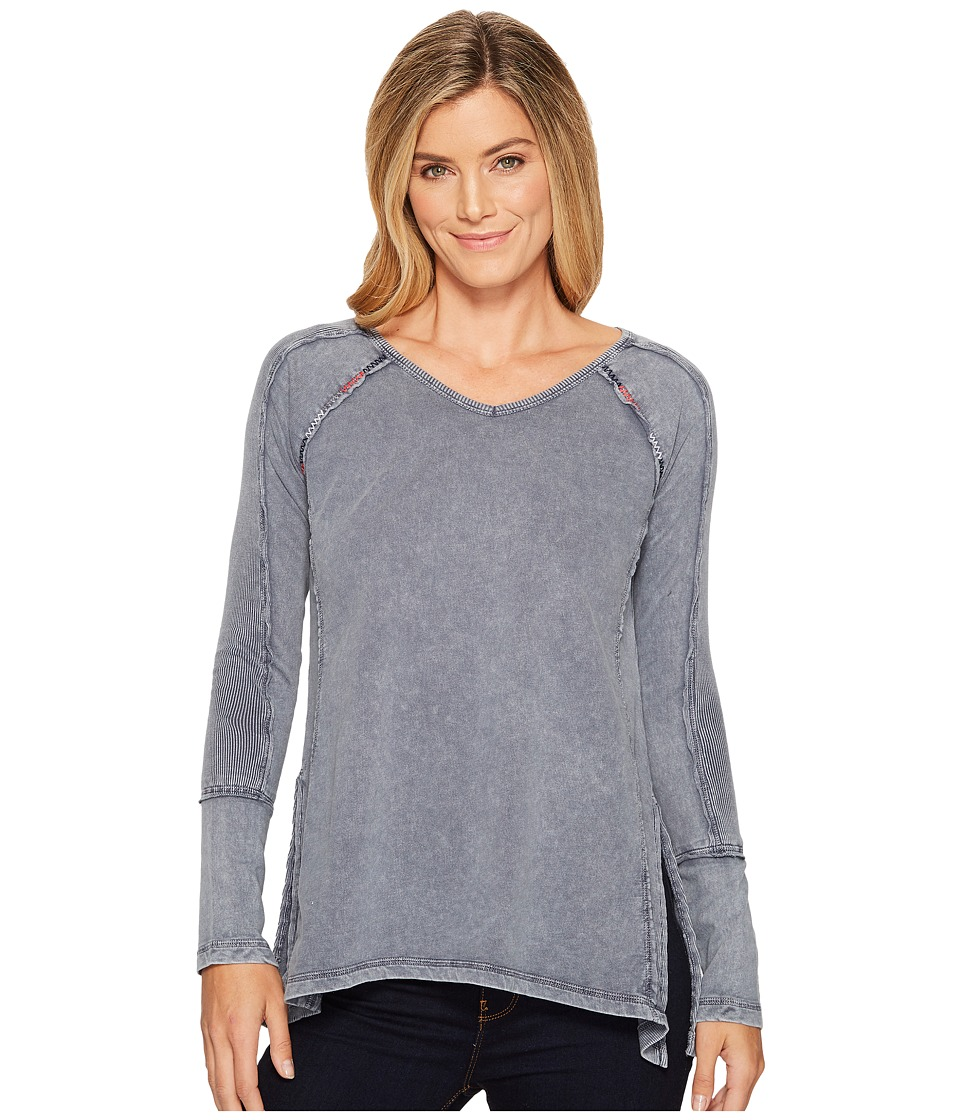 Mod-o-doc Lightweight French Terry Raglan Pullover with Rib Contrast (Steel) Women