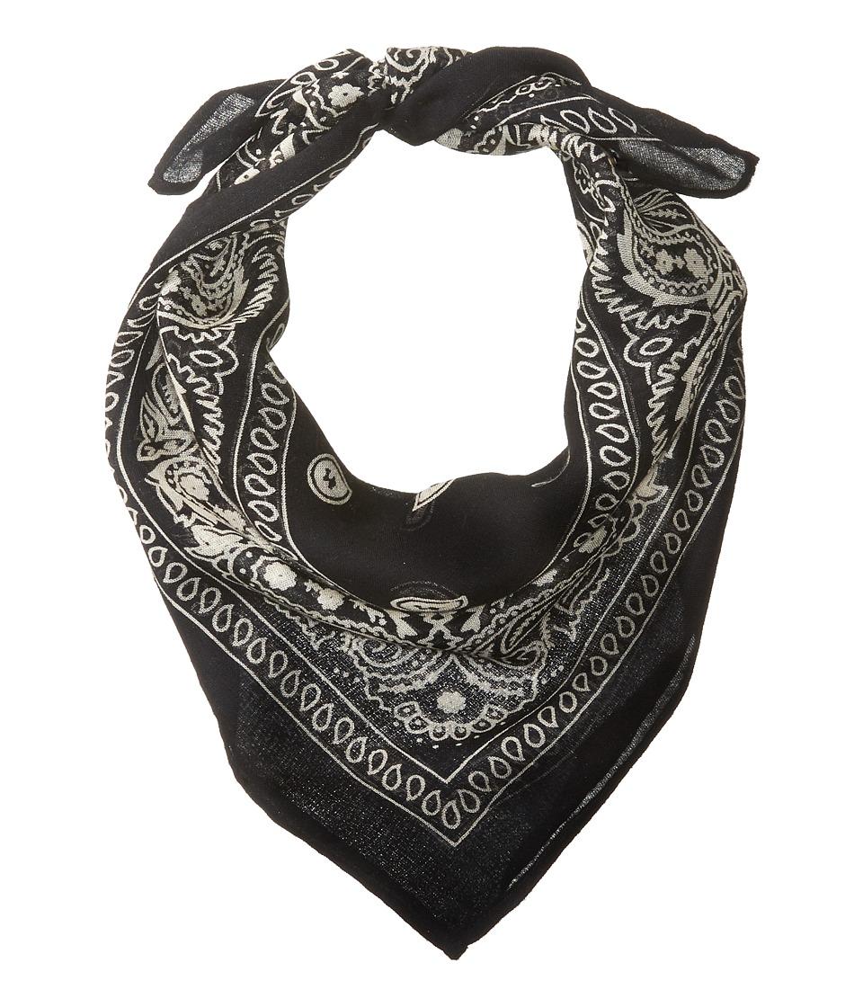 Chan Luu - Bandana Print Neckerchief (Black) Scarves