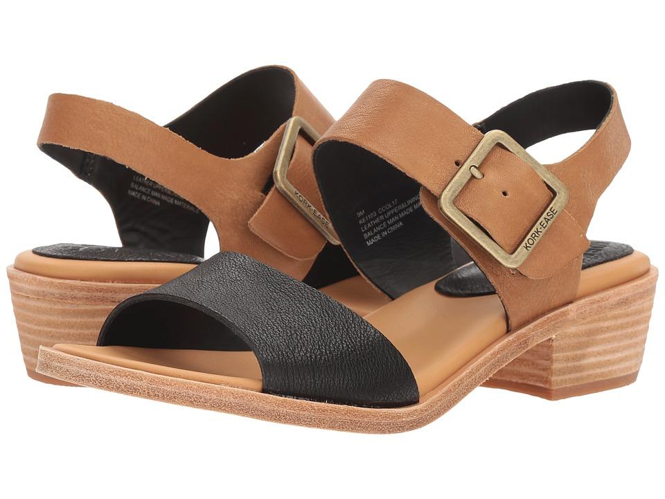 Kork-Ease - Myakka (Black/Light Brown Full Grain Leather Combo) Womens 1-2 inch heel Shoes