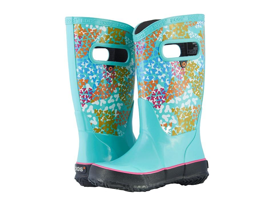 Bogs Kids - Rain Boot Footprints (Toddler/Little Kid/Big Kid) (Aqua Multi) Girls Shoes