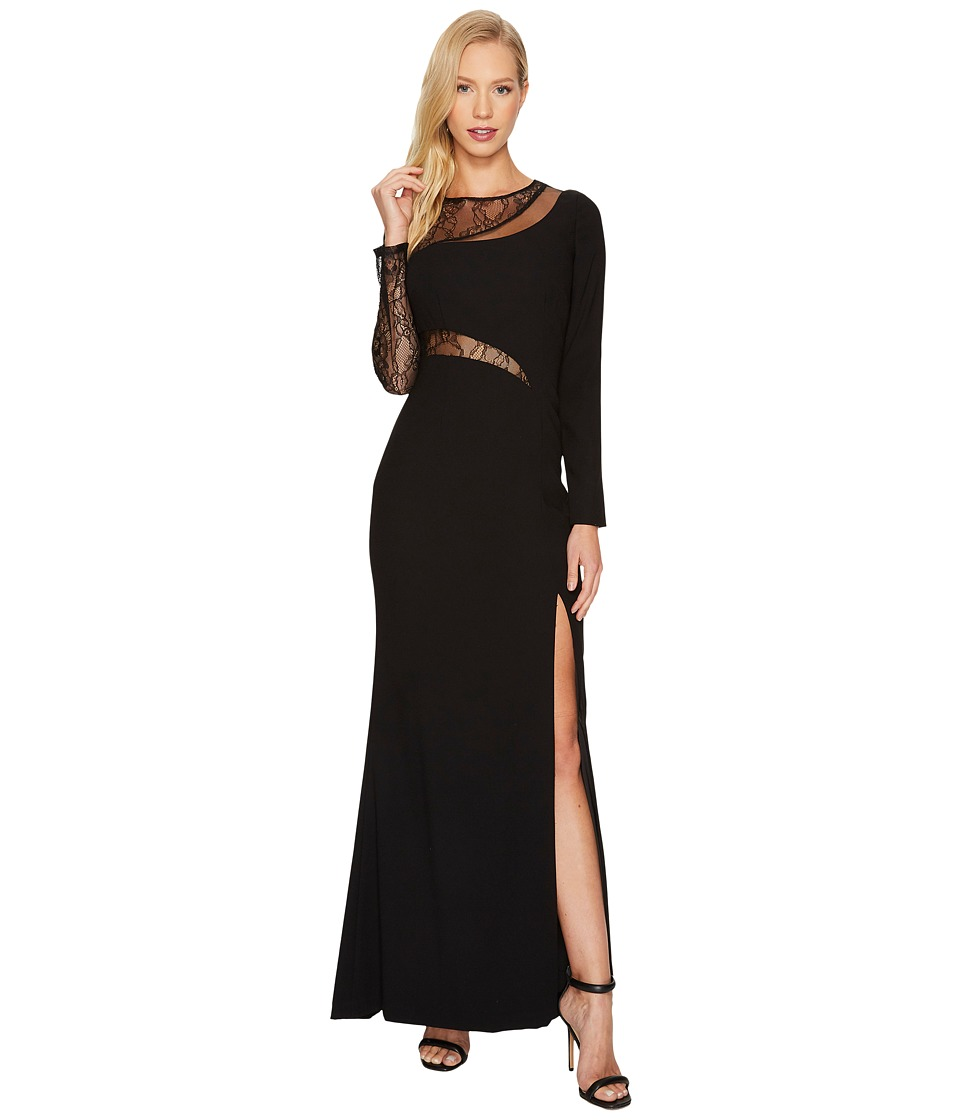Aidan Mattox - Crepe and Lace Gown (Black) Women's Dress