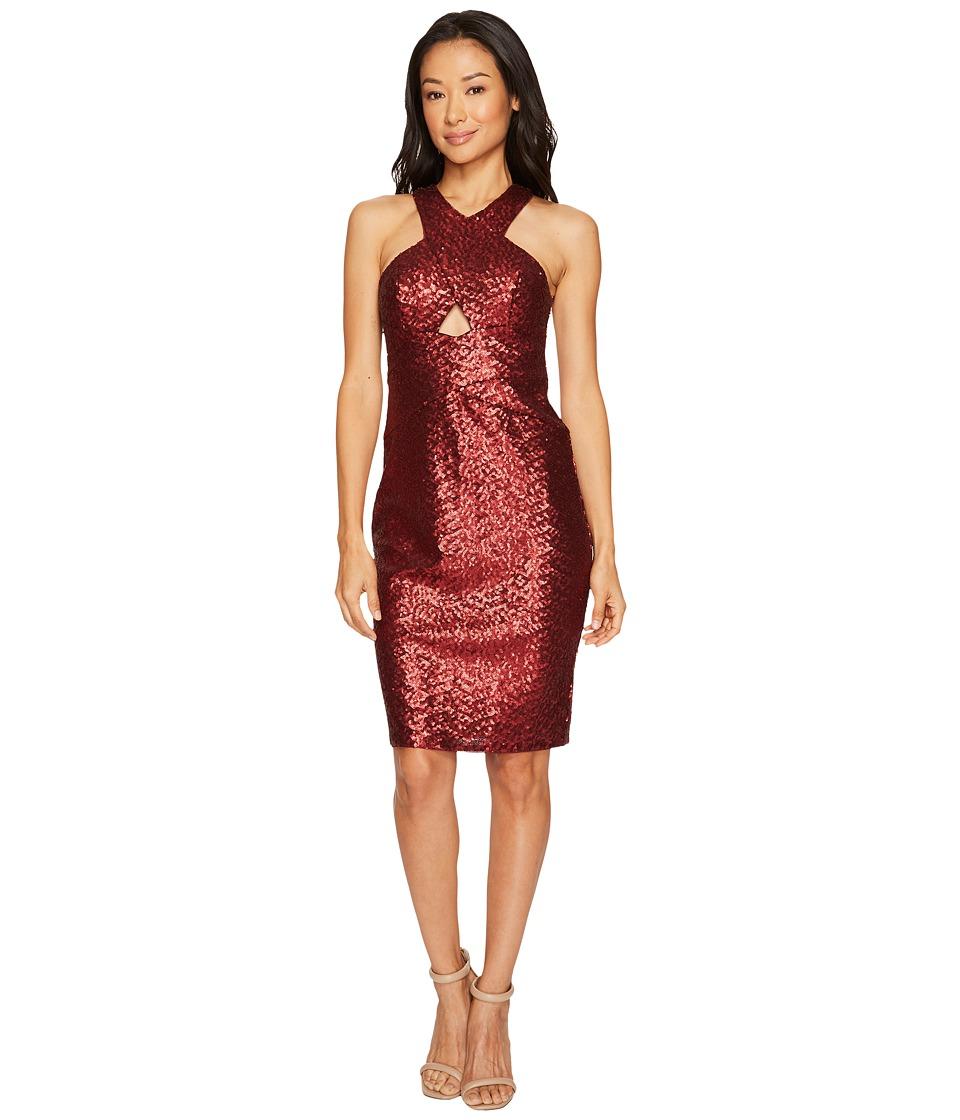 Aidan Mattox Sequin Cocktail Dress (Wine) Women