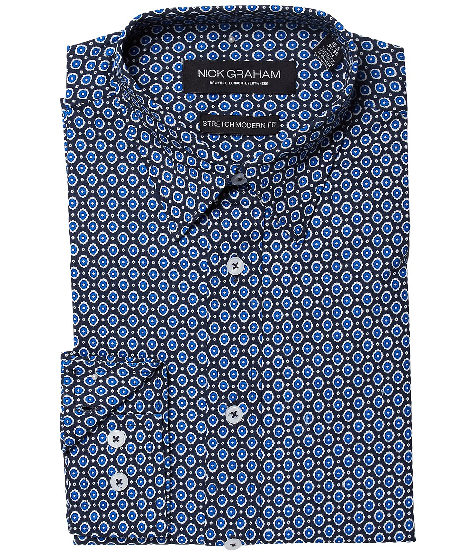 Nick Graham - Gem Print Stretch Shirt (Blue) Mens Long Sleeve Button Up
