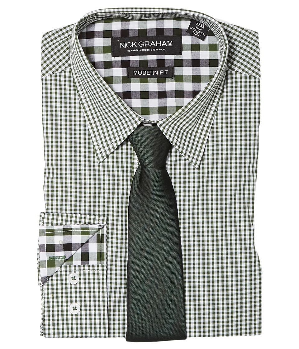 Nick Graham - Mini Gingham Check (Green) Mens Clothing