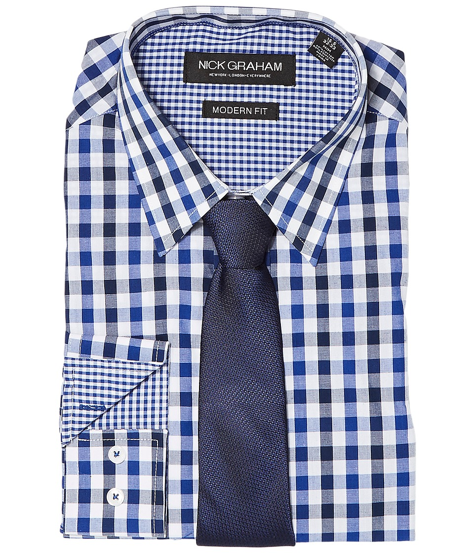 Nick Graham - Multi Gingham (Blue) Mens Clothing