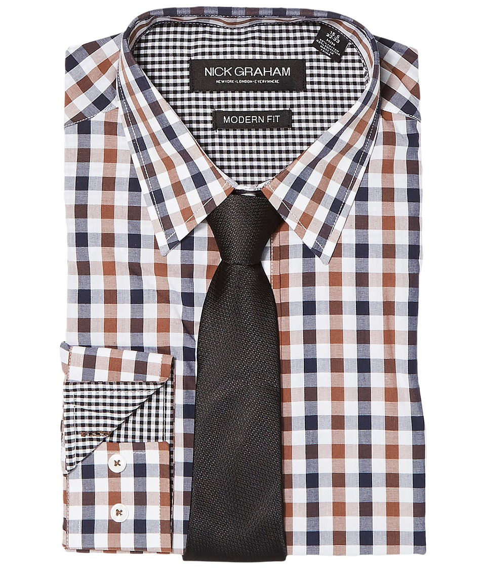 Nick Graham - Mini Multi Gingham (Brown/Black) Mens Clothing