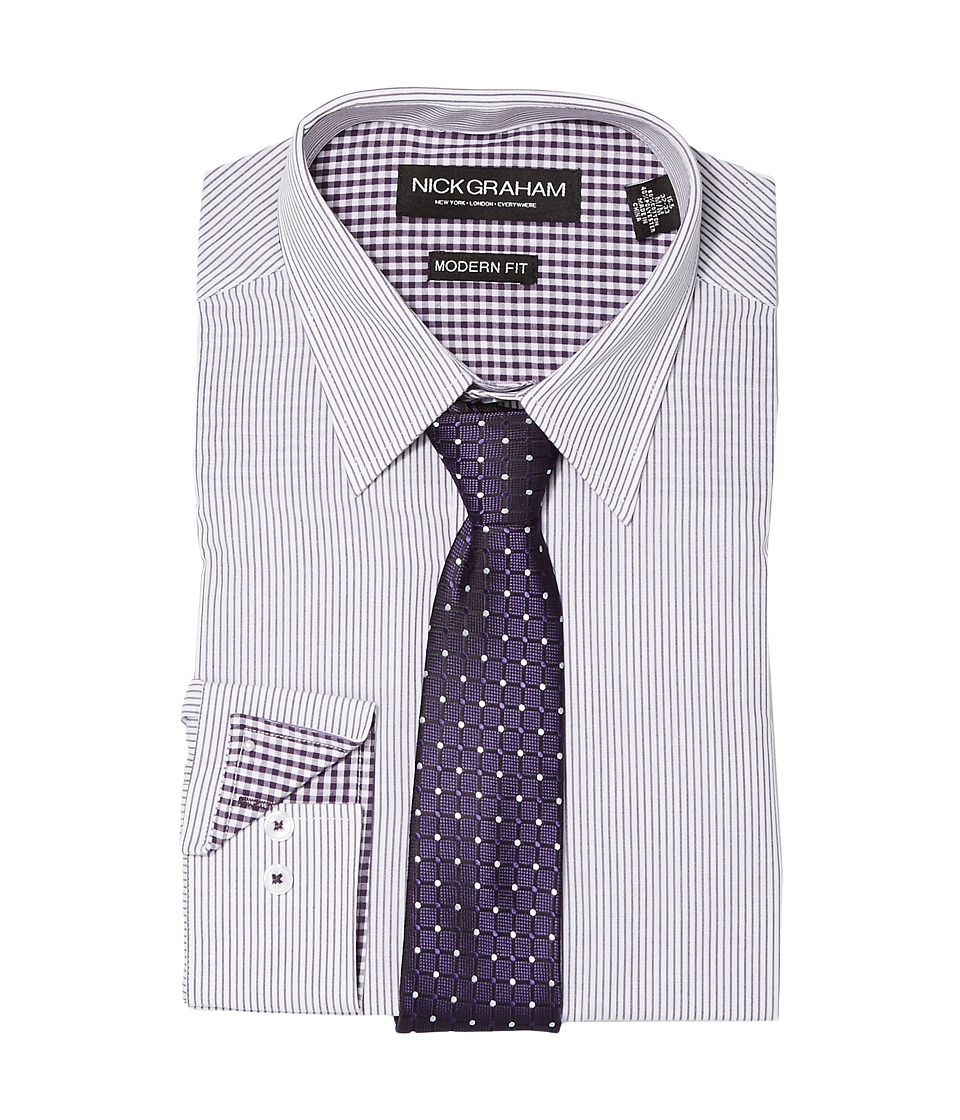 Nick Graham - Fine Line Stripe (Purple) Mens Clothing