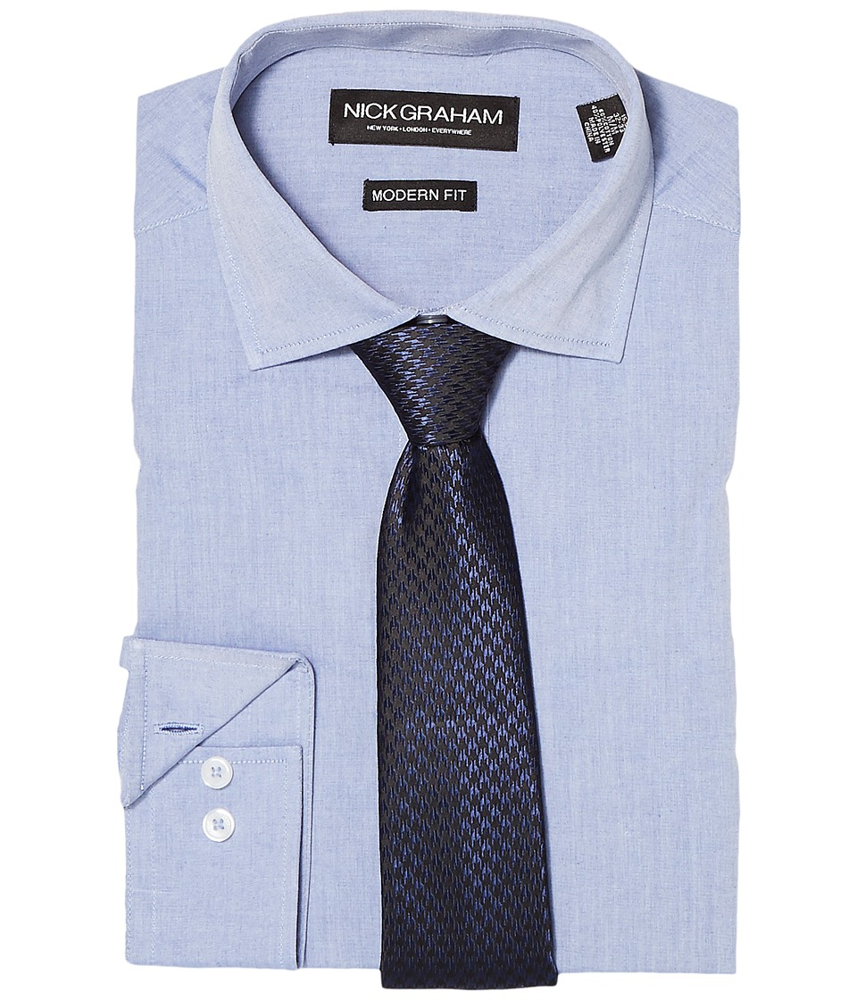 Nick Graham - Chambray Shirt with Tie (Blue) Mens Clothing