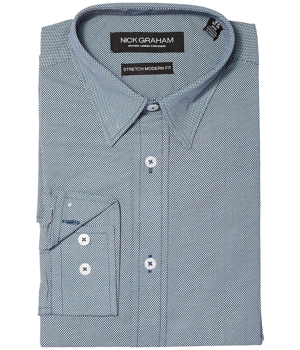 Nick Graham - Micro Dot Print Stretch Shirt (Navy) Mens Clothing