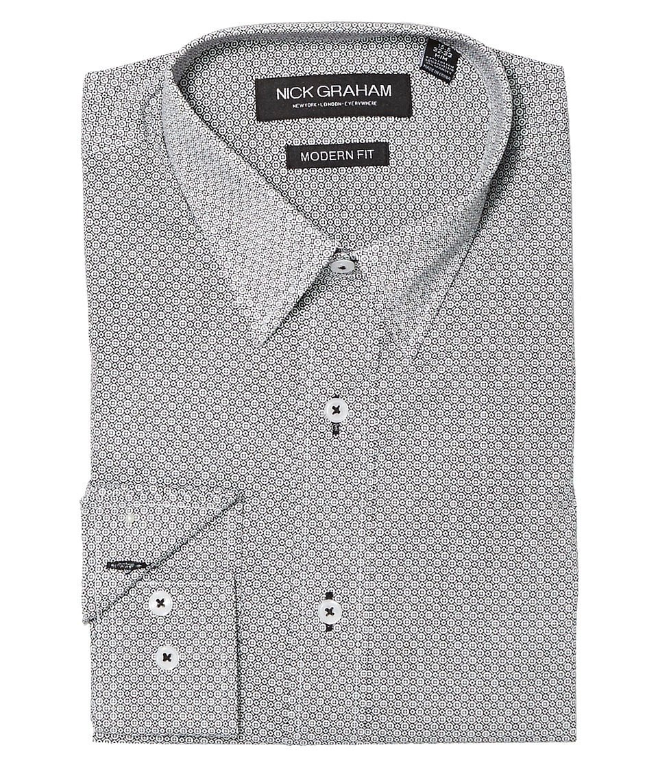 Nick Graham - Square Hole Print Stretch Shirt (Black) Mens Clothing