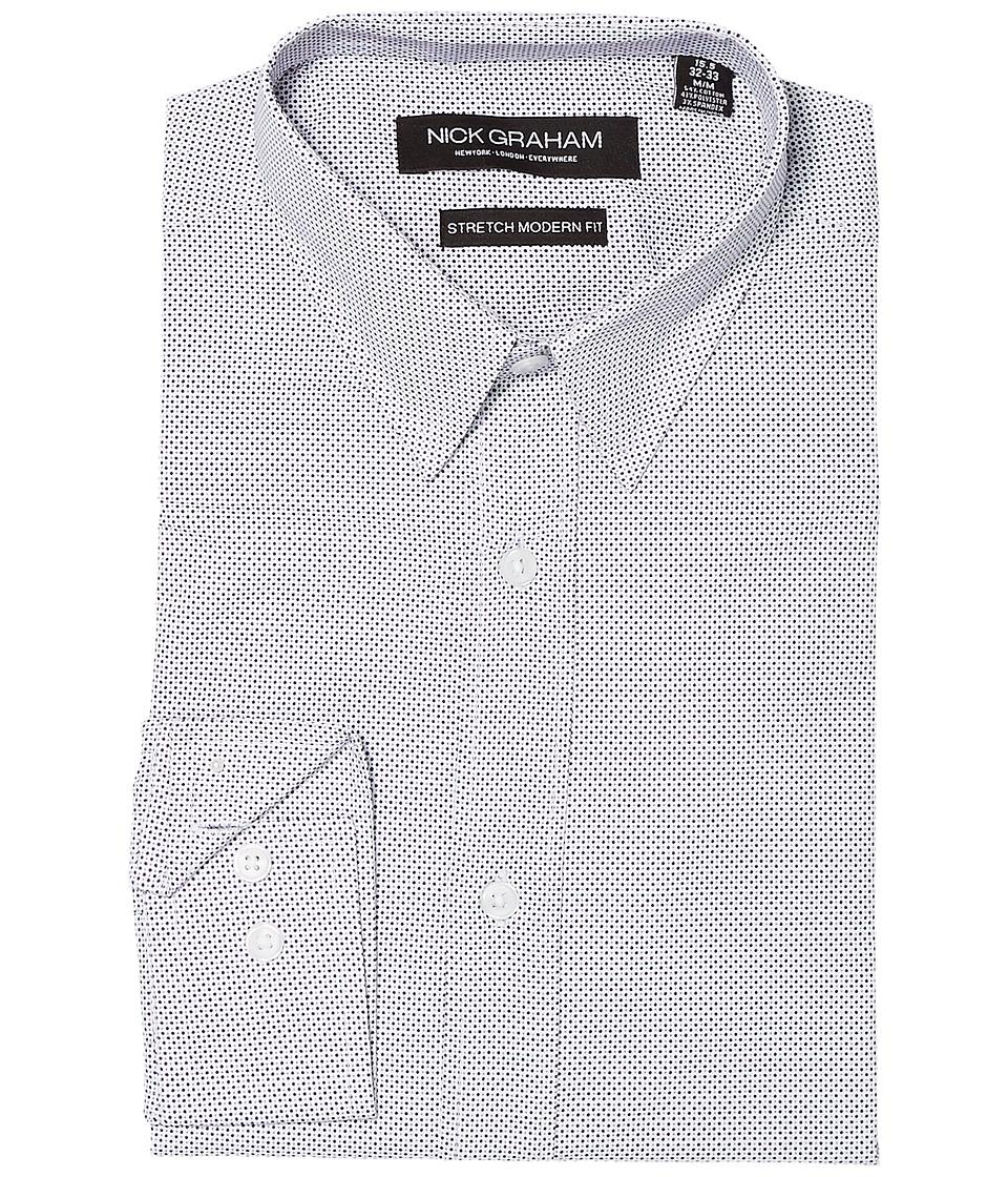 Nick Graham - Dot Print Stretch Dress Shirt