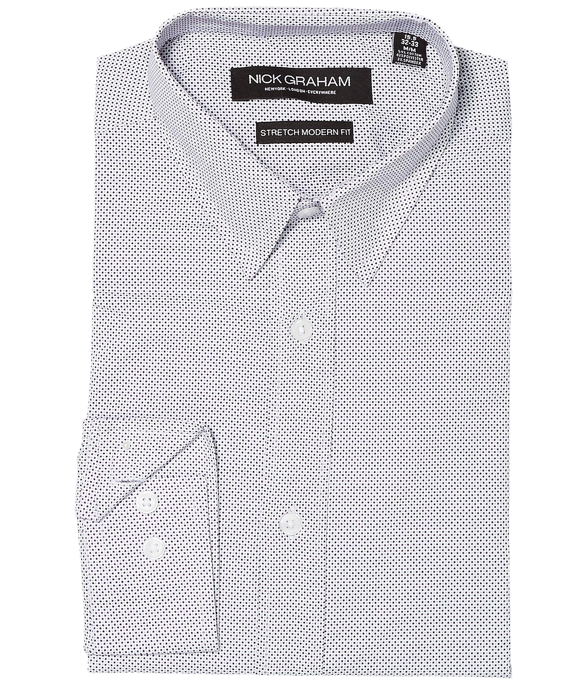 Nick graham dot print stretch dress shirt at for How to stretch a dress shirt