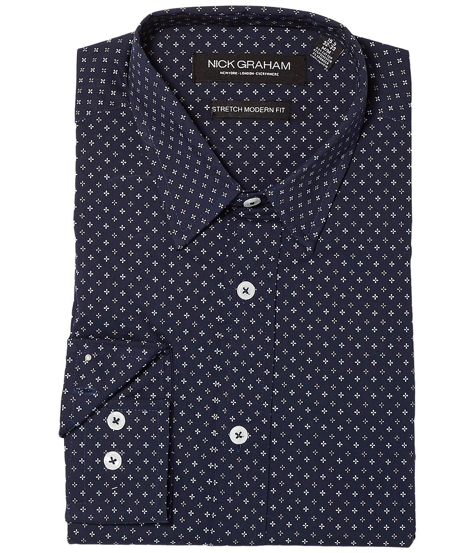 Nick Graham - Asterisk Print Stretch Dress Shirt