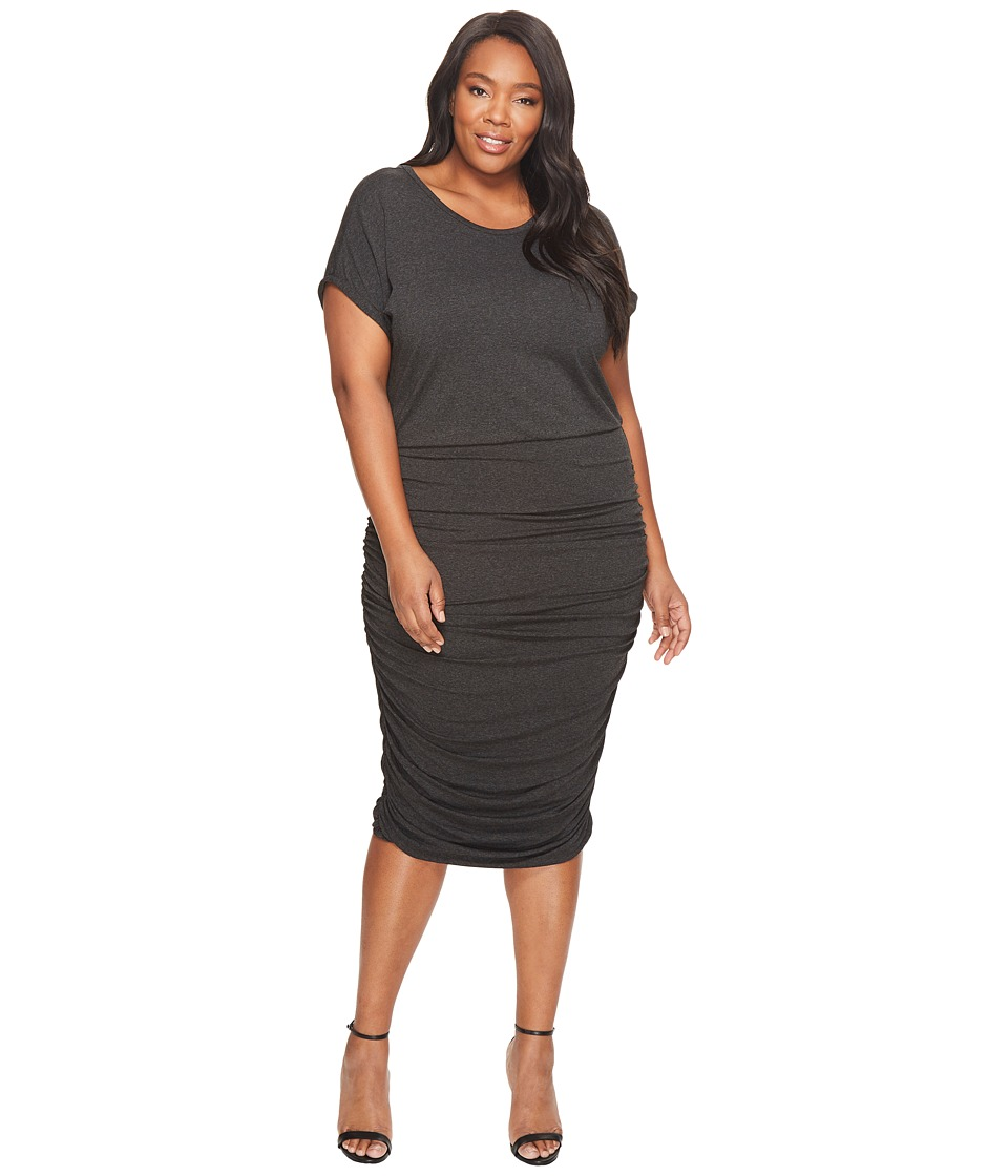 Vince Camuto Specialty Size Plus Size Short Sleeved Ruched Dress (Dark Heather Grey) Women