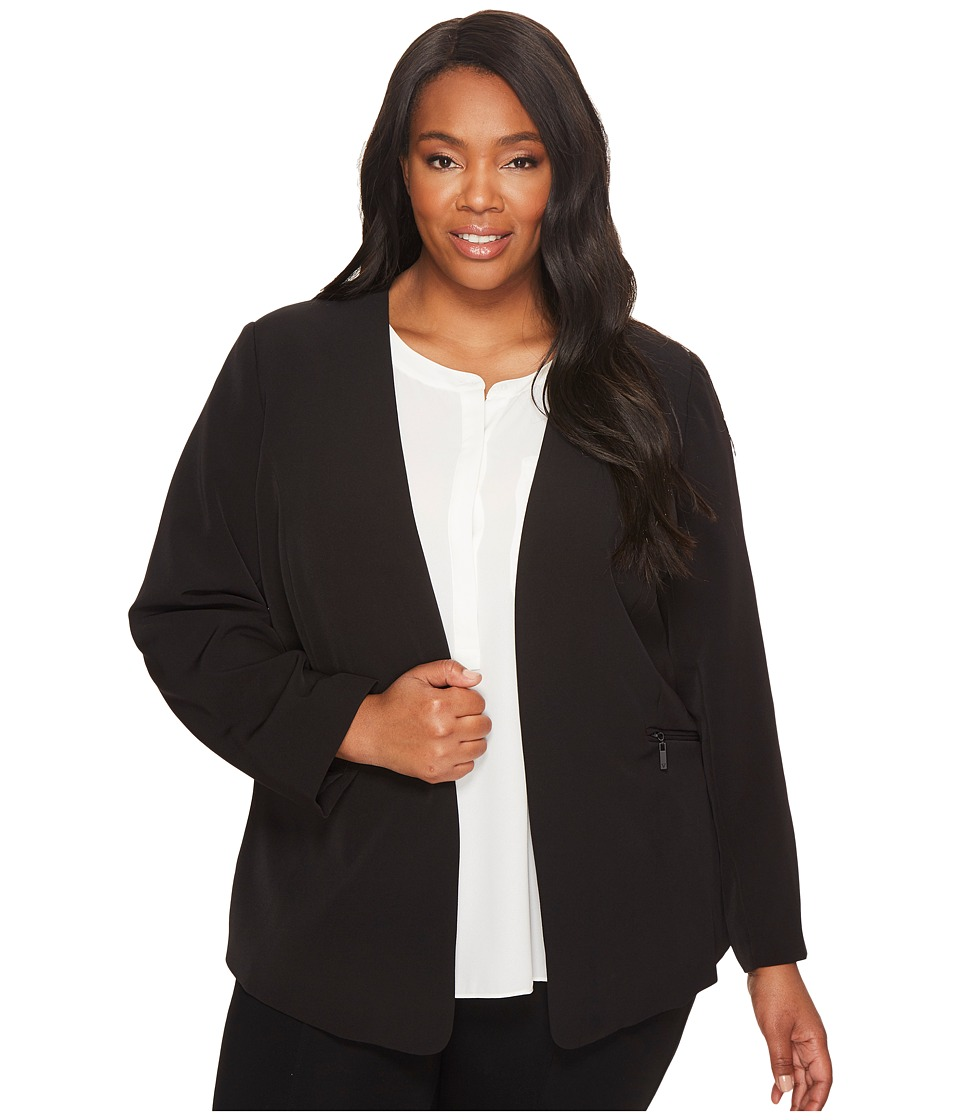 Vince Camuto Specialty Size - Plus Size Milano Twill Open Front Blazer (Rich Black) Womens Jacket