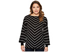 Vince Camuto Specialty Size Petite Long Sleeve Chevron Intarsia Sweater