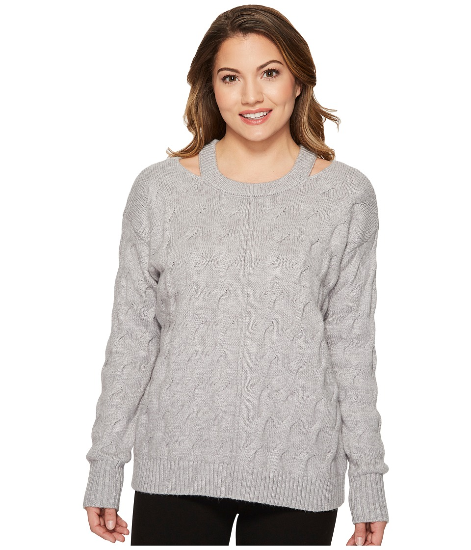 Vince Camuto Specialty Size - Petite Long Sleeve Cable Sw...
