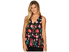 Vince Camuto Sleeveless Floral Heirlooms Drape Front Blouse