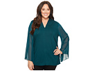Vince Camuto Specialty Size Plus Size Chiffon Bell Sleeve Side Ruched Top