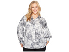 Vince Camuto Specialty Size Plus Size Long Sleeve Speckle Atmosphere Button Down Blouse