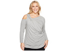 Vince Camuto Specialty Size Plus Size Long Sleeve Asymmetrical Cold-Shoulder Twist Front Top