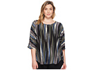 Vince Camuto Specialty Size Plus Size Elbow Sleeve Colorful Peaks Center Front Seam Blouse