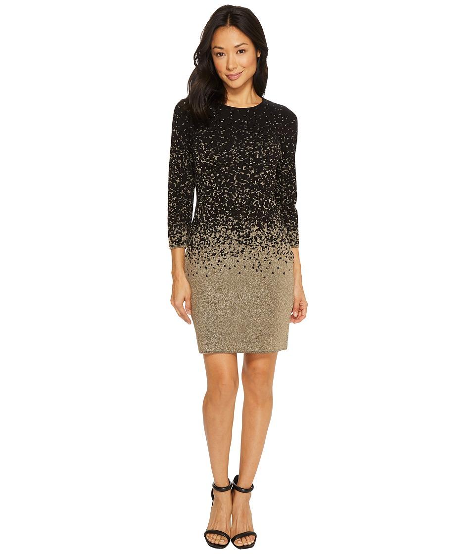 Vince Camuto 3/4 Sleeve Ombre Lurex Sweater Dress (Rich Black) Women
