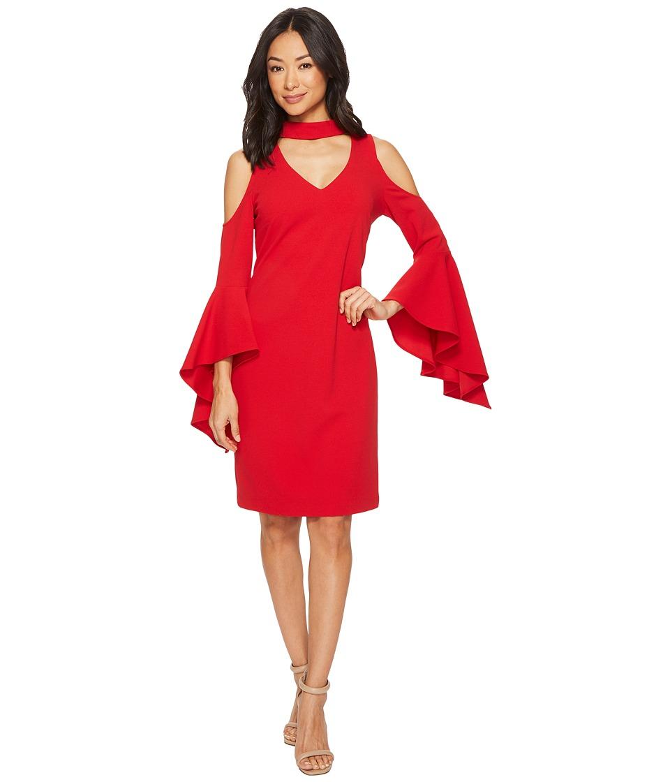 Vince Camuto Cold-Shoulder Handkerchief Sleeve Chocker Neck Dress (True Crimson) Women