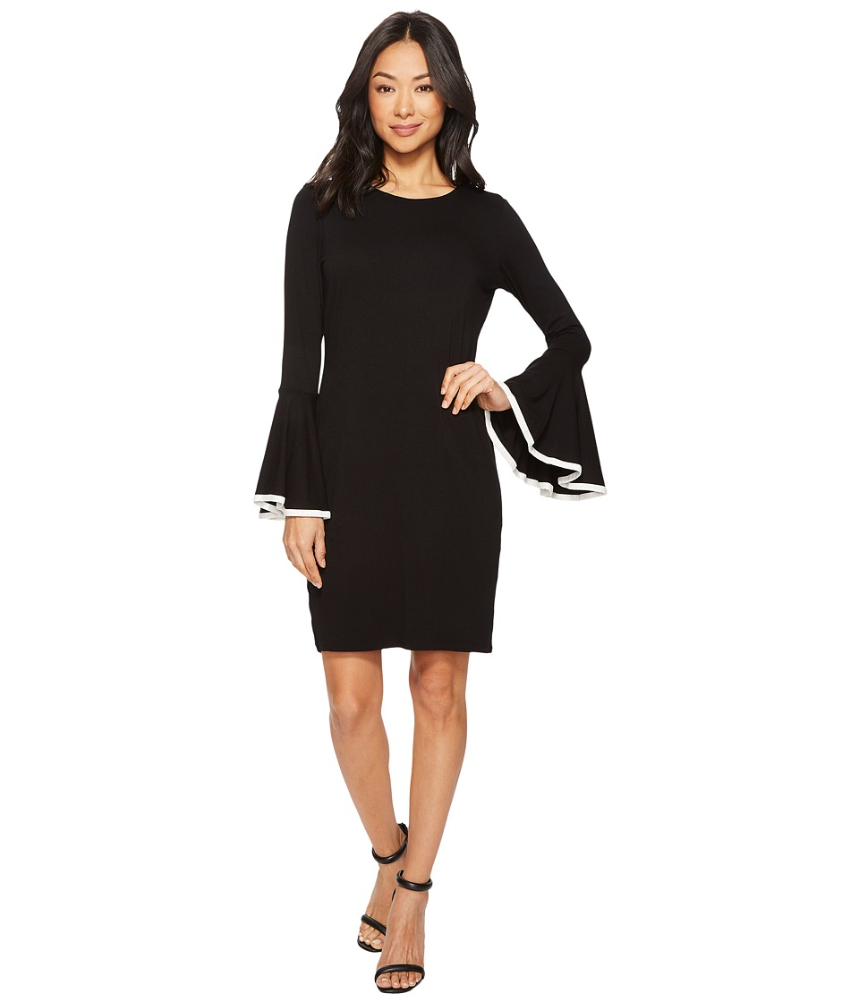 Vince Camuto Long Sleeve Circle Cuff Dress (Rich Black) Women