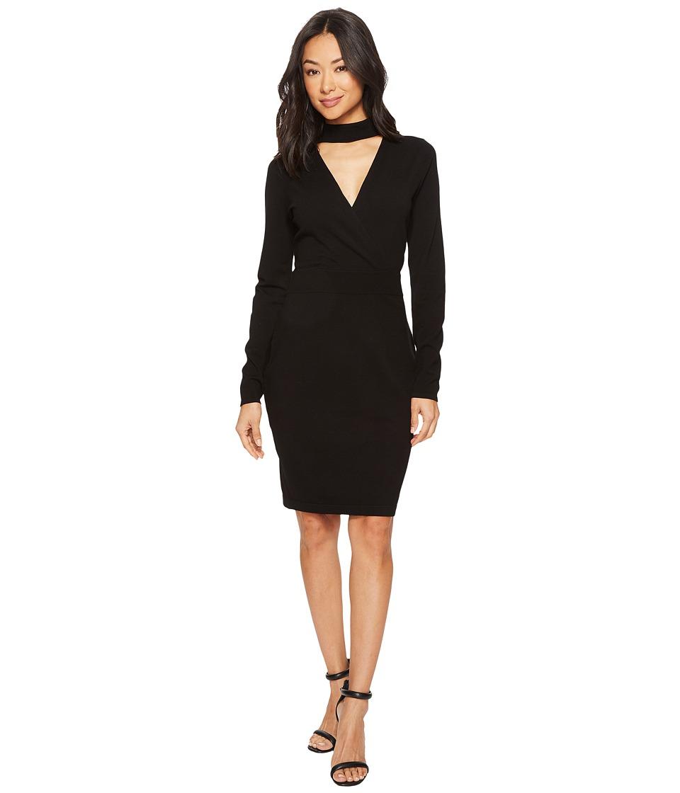 Vince Camuto Long Sleeve Choker Neck Wrap Front Sweater Dress (Rich Black) Women
