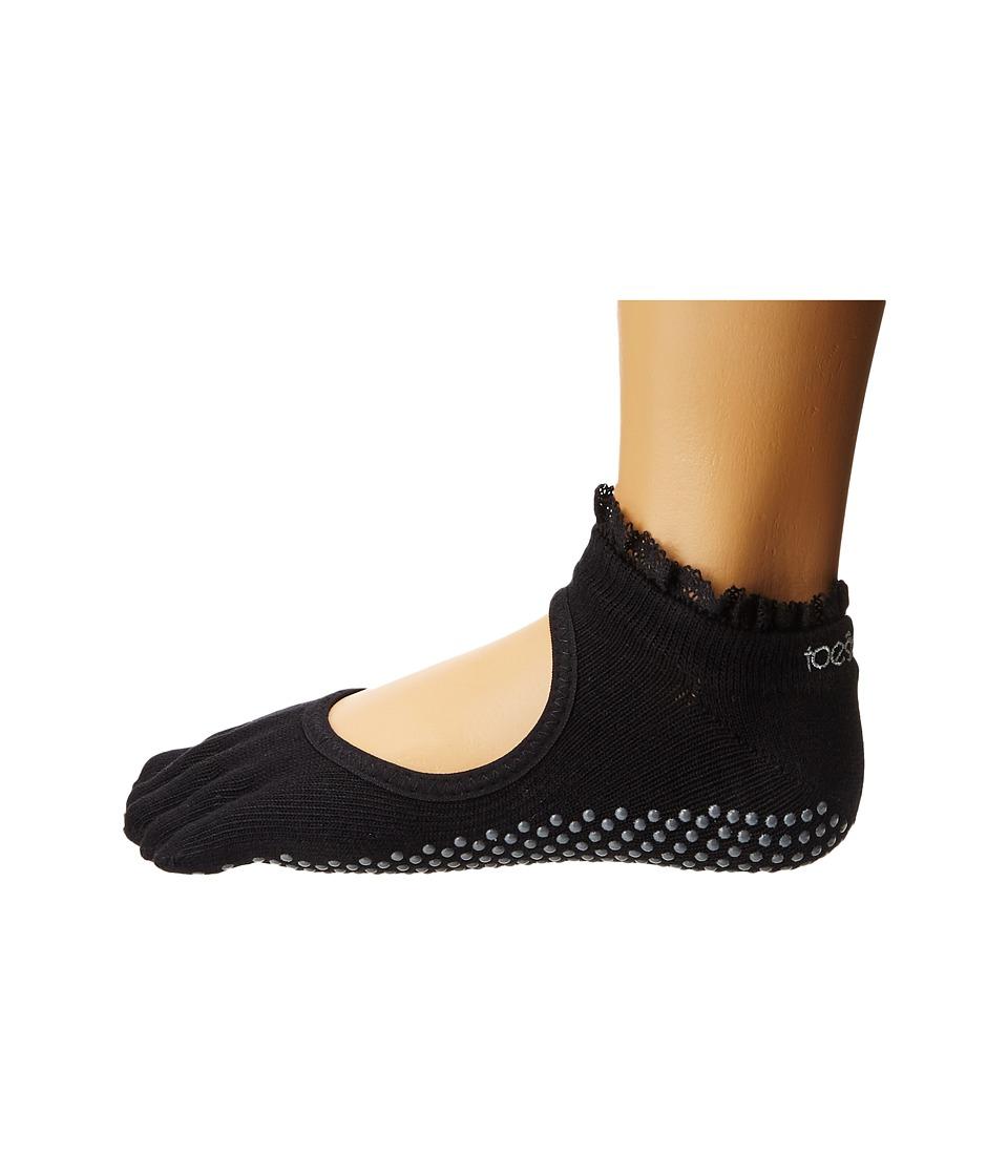 toesox - Bella Full Toe w/ Grip (Black Lace) Womens No Show Socks Shoes