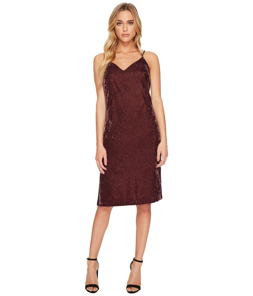 Splendid Velvet Slip Dress w/ Tuxedo Trim Sides (Deep Plum) Women