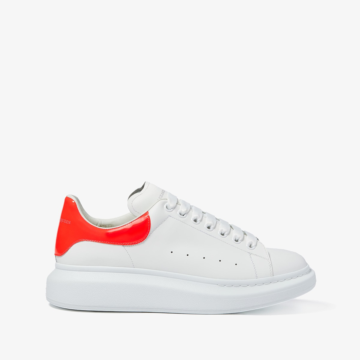 Alexander Mcqueen Simple Double Sole Sneaker (White/Coral...