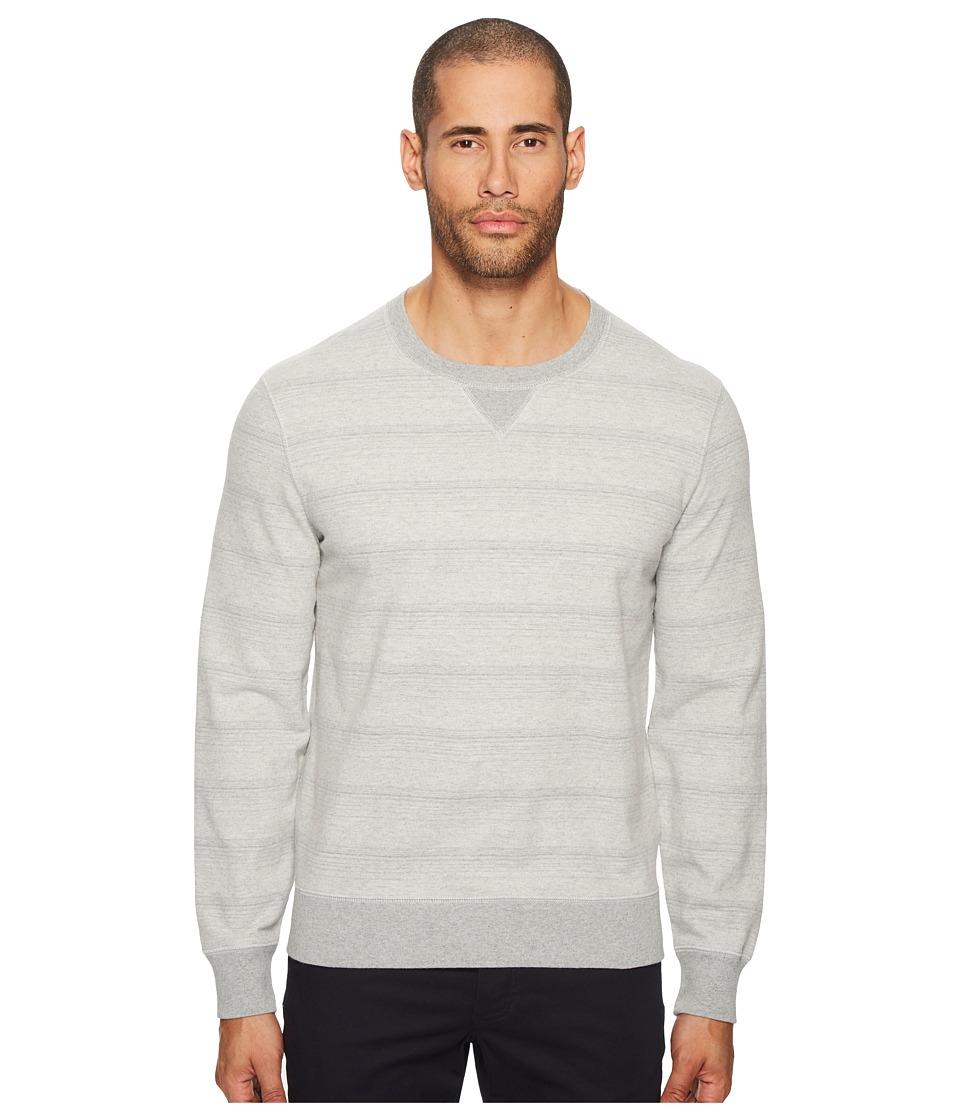 Image of Billy Reid - Striped Crew Neck Sweatshirt (Grey Mix) Men's Sweatshirt