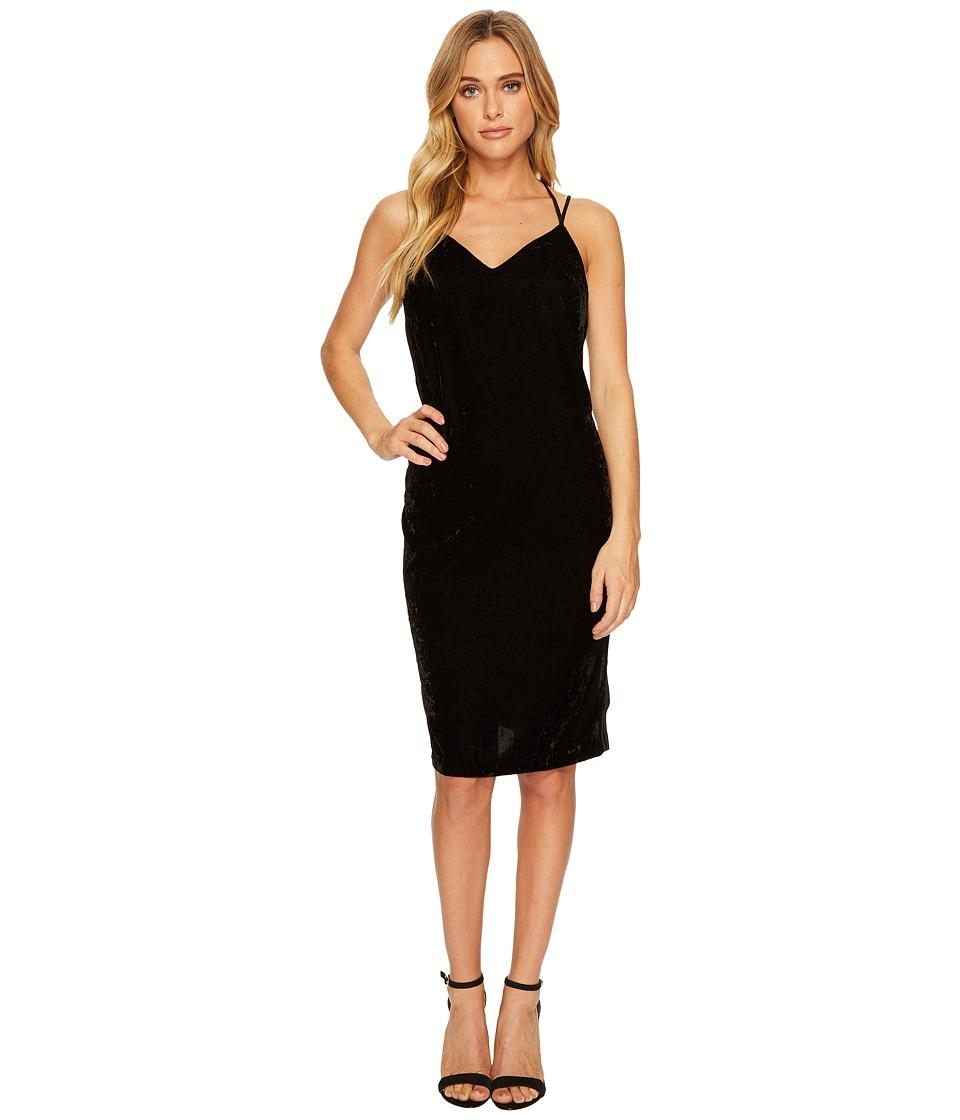 Splendid Velvet Slip Dress w/ Tuxedo Trim Sides (Black) Women