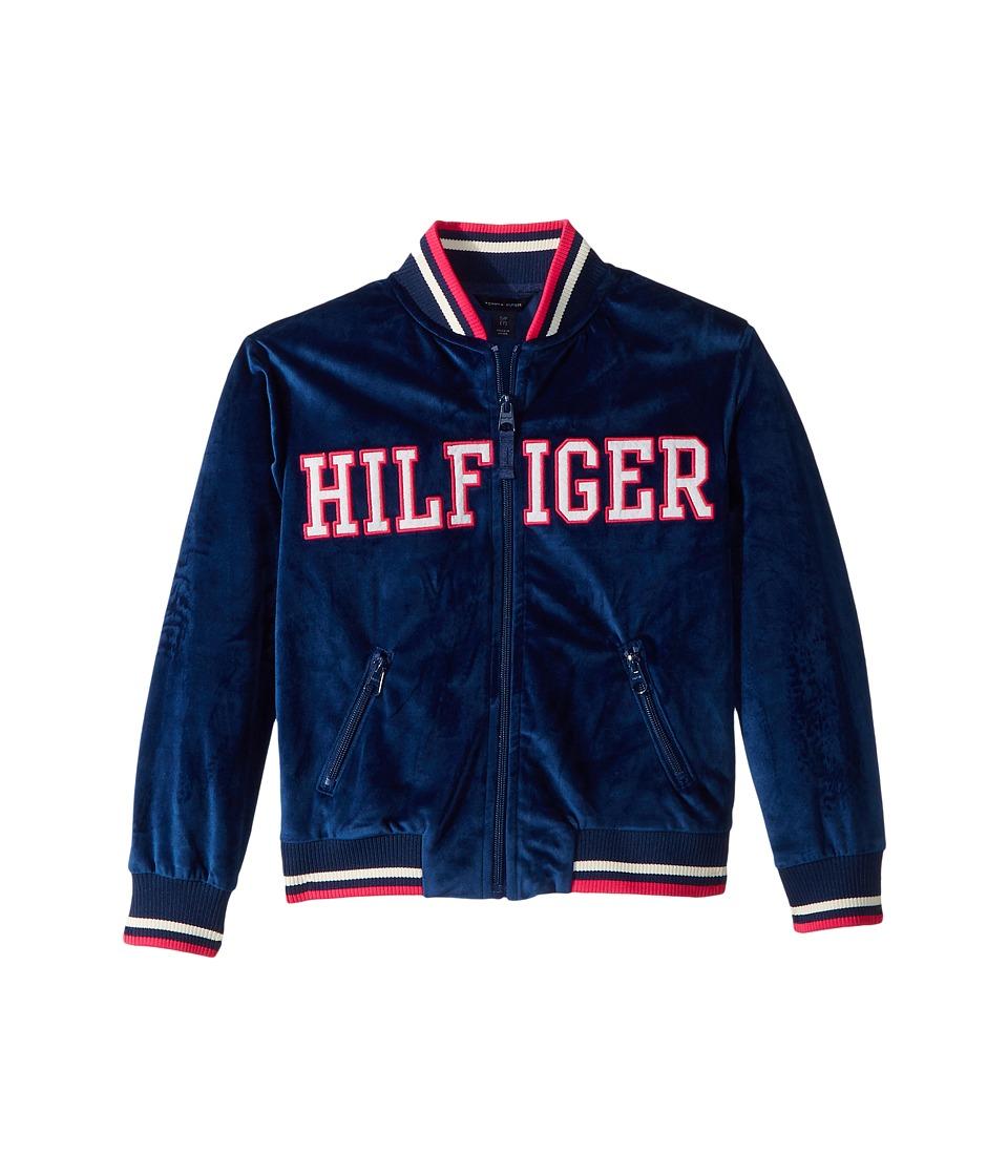 Tommy Hilfiger Kids Velour Track Jacket (Big Kids) (Flag Blue) Girl