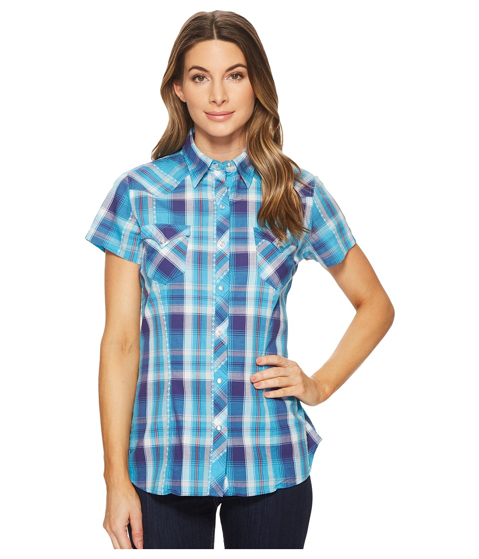 Roper - 1533 Blue Spruce Dobby (Blue) Womens Clothing