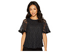 CATHERINE Catherine Malandrino Short Sleeve Lace Top w/ Pleat Trim