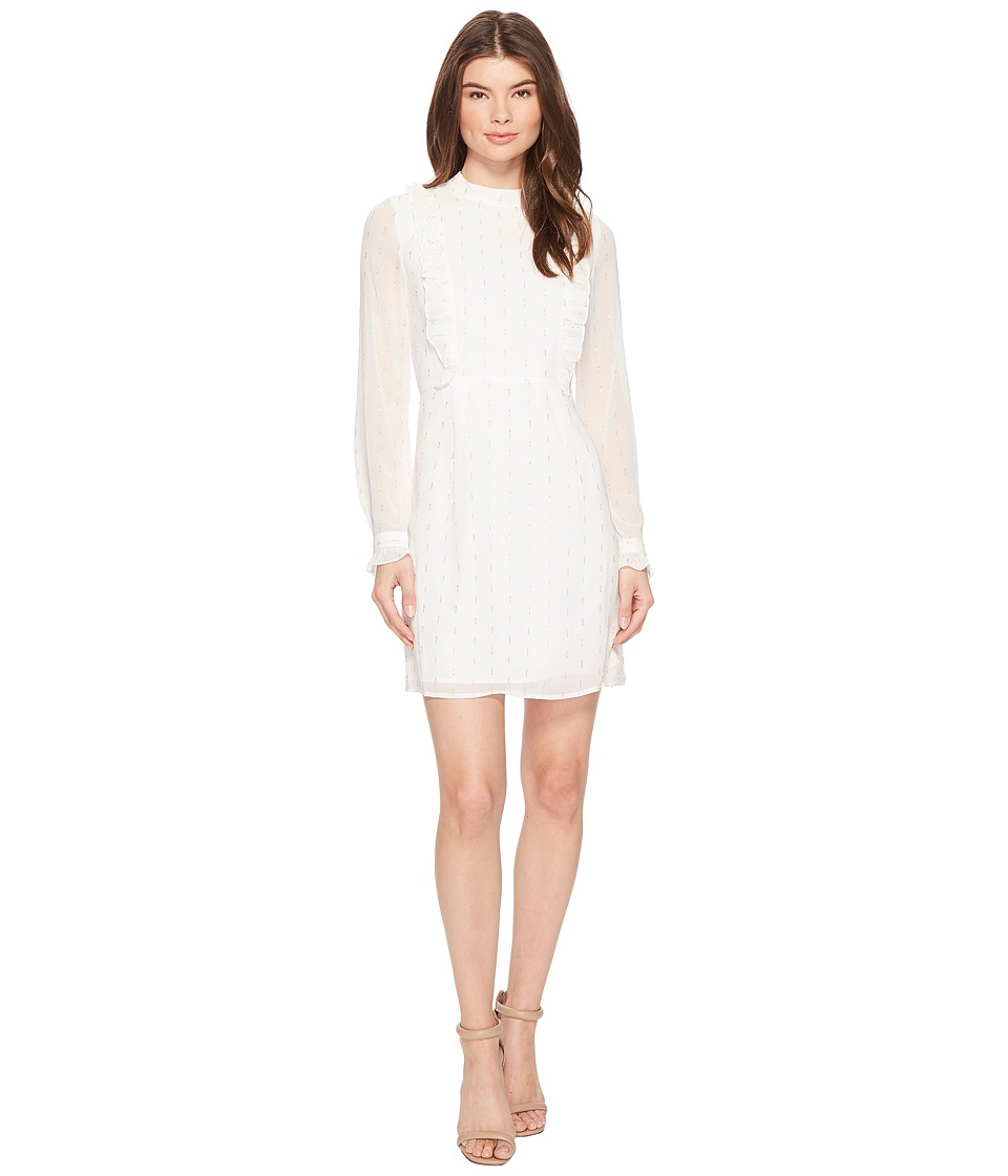CATHERINE Catherine Malandrino Long Sleeve Ruffle Front Dress (Ivory/Gold) Women
