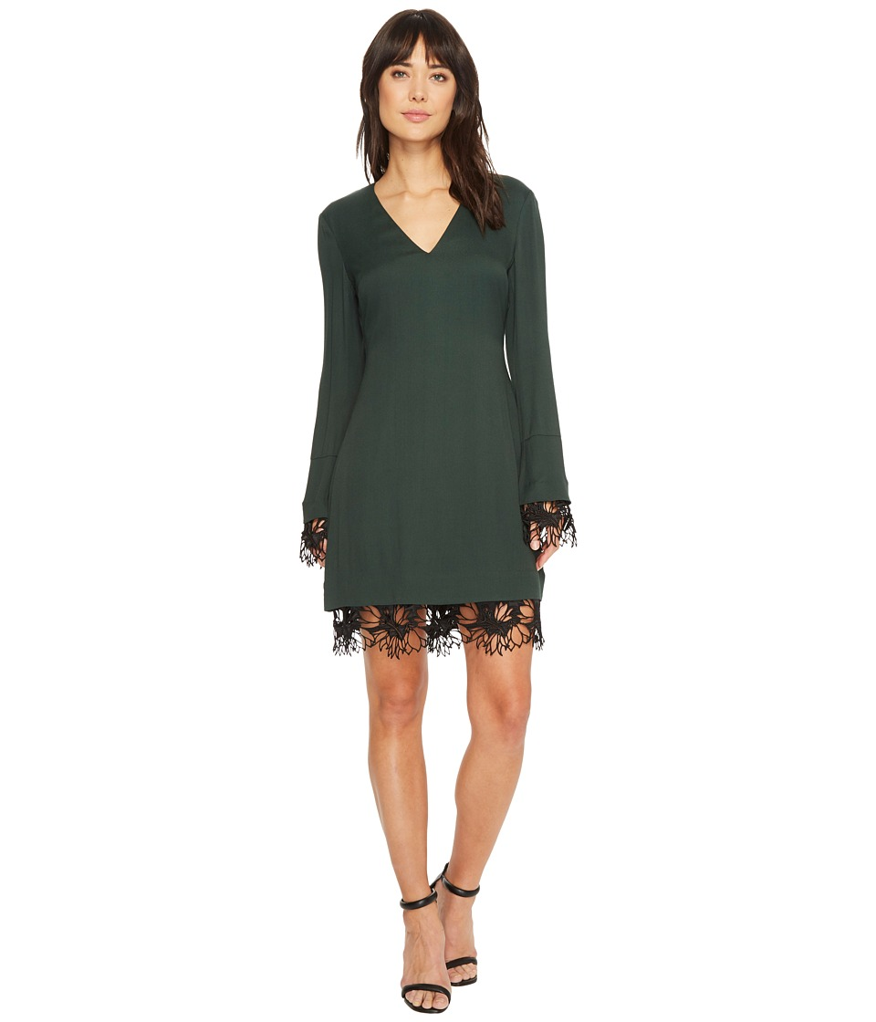 CATHERINE Catherine Malandrino Long Sleeve V-Neck Dress w/ Crochet Detail (Sycamore) Women